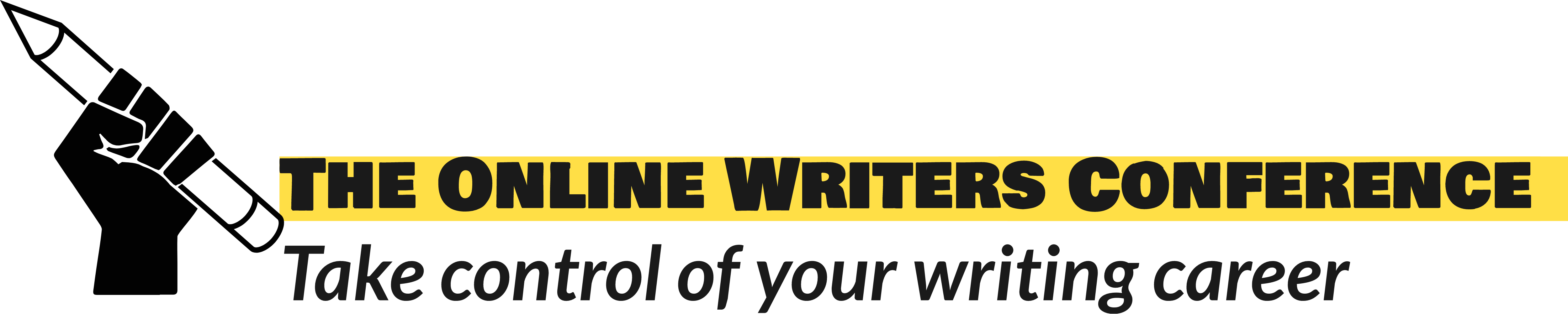 The Online Writers Conference logo, pencil in fist, raised in an Author Power salute!